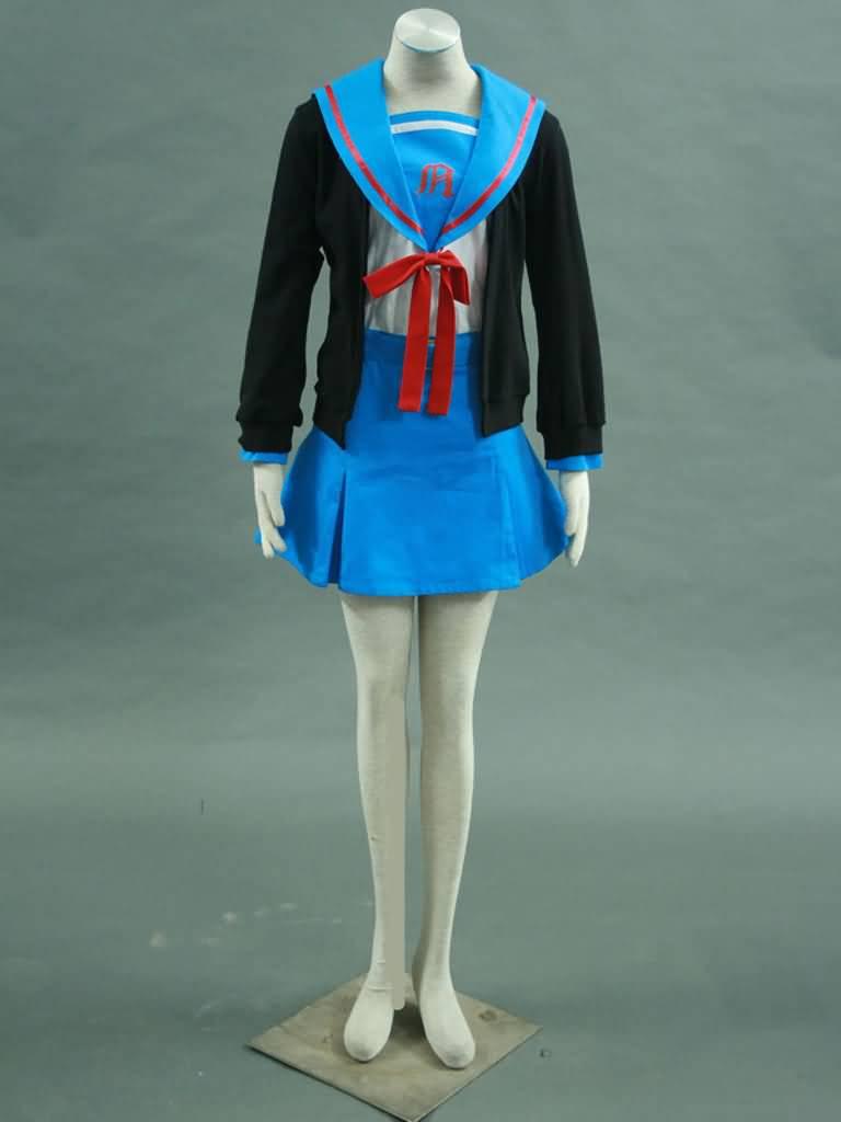 忧郁-长门有希装1代-卫衣校服(女装4件套:外套,水手服,短裙,蝴蝶结)