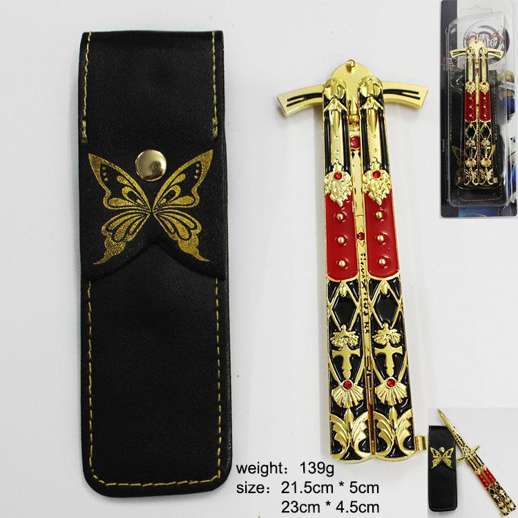 命运系列交叉黑色线条花纹红钻金红折叠刀