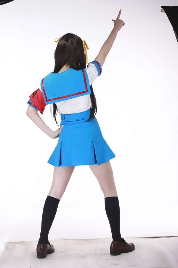 春日的忧郁-凉宫春日装2代-夏装校服(女装5件套:水手服,短裙,蝴蝶结
