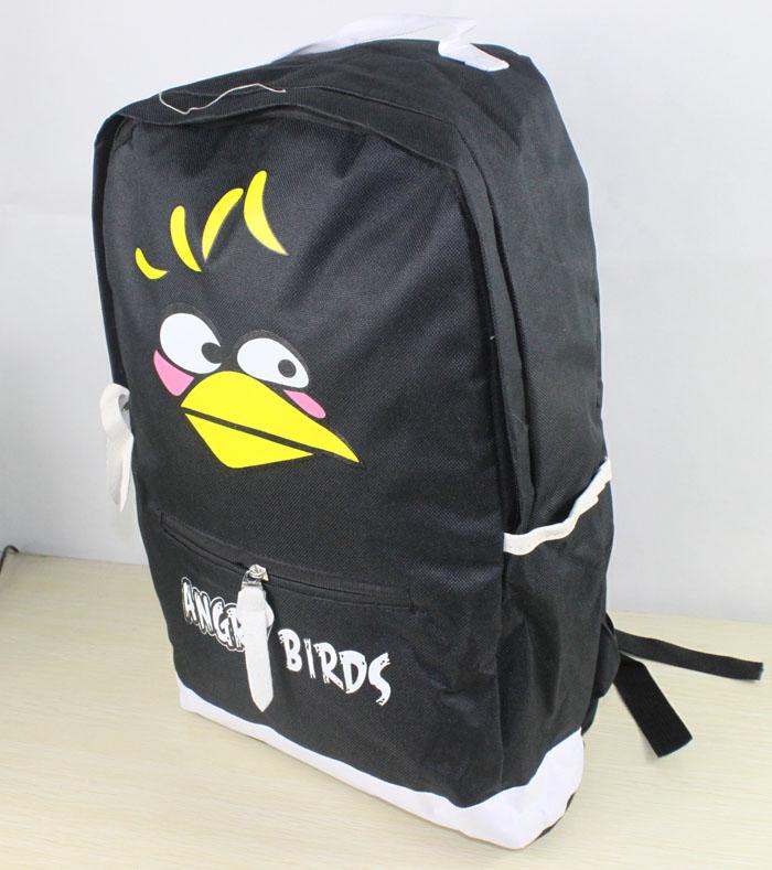 愤怒的小鸟双肩背包书包 学生书包(黑色)